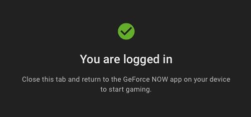 GeForce NOWのログイン完了画面
