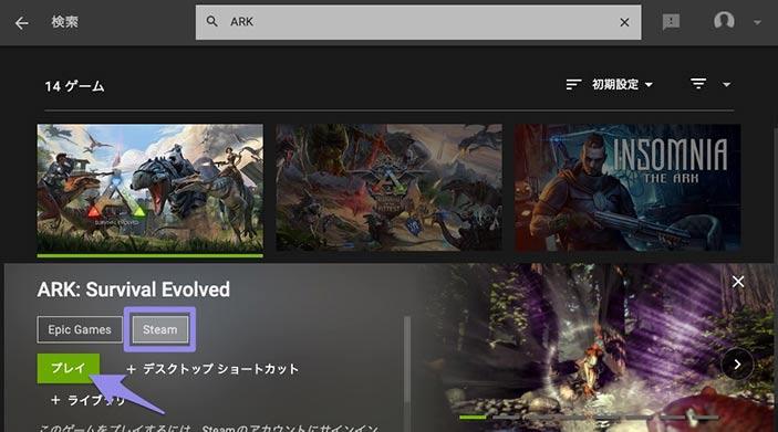 Steamから起動する画面